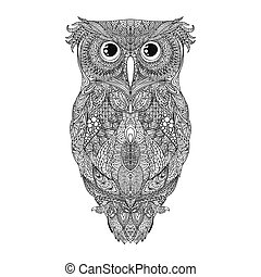 Vector black hand drawn Owl tattoo Illustration