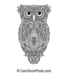 Vector black hand drawn Owl tattoo Illustration