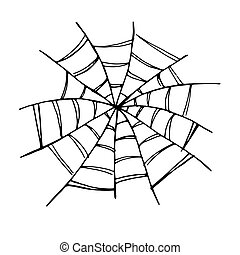 Vector black hand drawn spider web icon set isolated on white background