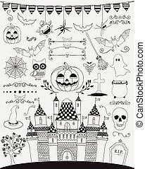 Black Hand Sketched Doodle Halloween Icons Set. Cartoon Characters. Decorative Design Elements, Dividers, Swirls. Horror Symbols. Vector Illustration