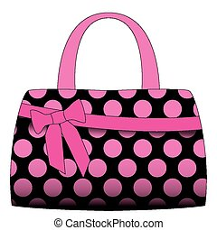 Vector black handbag in pink polka dots on a white...