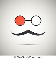 Vector black hat and mustache on a white background
