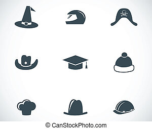 Vector black helmet and hat icons set
