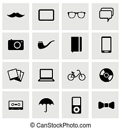 Vector black hipster icons set