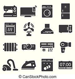 vector black home appliances icons set