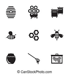 Vector black honey icons set on white background