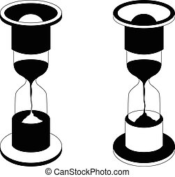 Vector black hourglass icon on white background