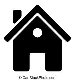 vector black house icon on white background.