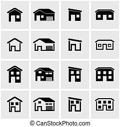 Vector black house icon set