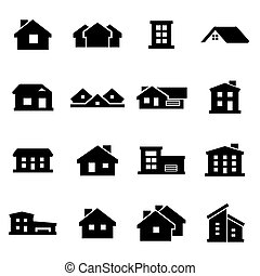 Vector black house icons set