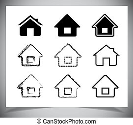 vector black house icons set on white