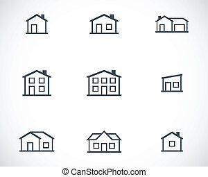 Vector black houses icons set