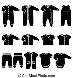 Vector black icons of baby clothes.