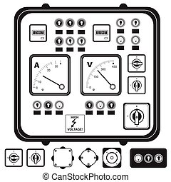 electric control panel - Vector black illustration of...