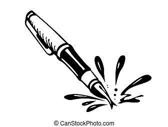 vector black ink on white background
