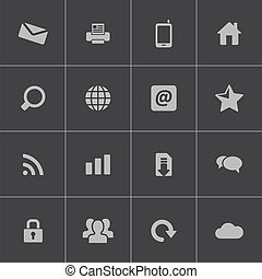 Vector black internet icons set