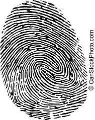 fingerprint - Vector black isolated fingerprint on white ...