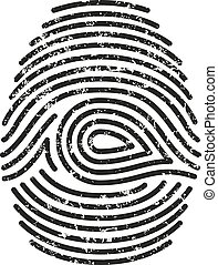 Vector black isolated fingerprint with grunge on white background