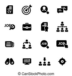 Vector black job search icons set