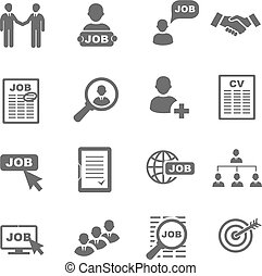 Vector black job search icons set.