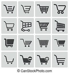 vector, black , kar, set, shoppen , iconen