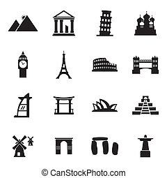 Vector black landmark icons set on white background