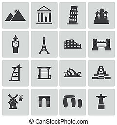 Vector black landmark icons set