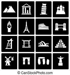 Vector black landmarks icon set