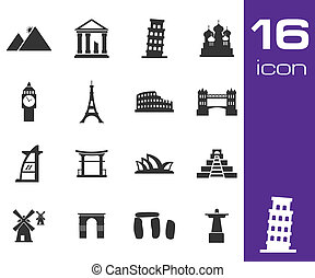 Vector black landmarks icons set