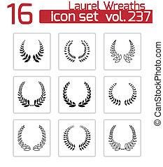 Vector black laurel wreaths icons set on white background