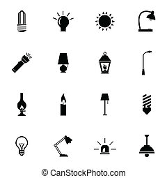Vector black light icons set