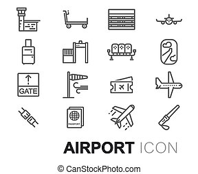 Vector black line airport icons set