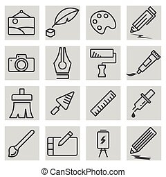 Vector black line art icons set
