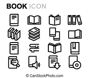 Vector black line book icons set