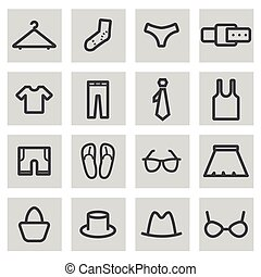 Vector black line clothes icons set