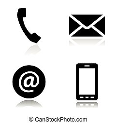 Vector black line contact icons set