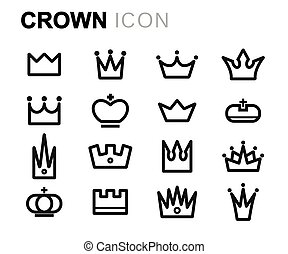 Vector black line crown icons set