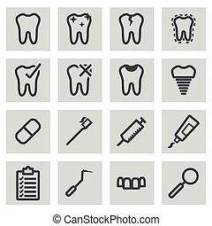 Vector black line dental icons set on grey background