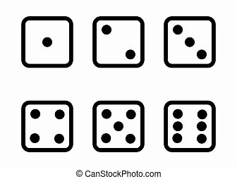 Vector black line dice cubes icons set