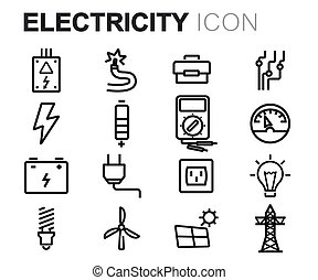 Vector black line electricity icons set