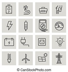 Vector black line electricity icons set