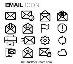 Vector black line email icons set