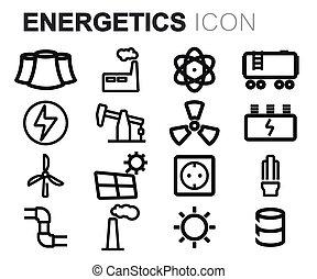 Vector black line energetics icons set on white background