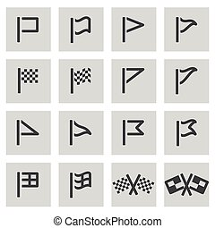 Vector black line flag icons set