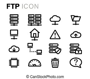 Vector black line ftp icons set