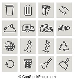 Vector black line garbage icons set
