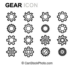 Vector black line gear icons set