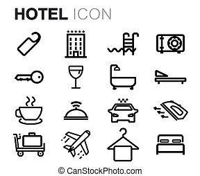 Vector black line hotel icons set