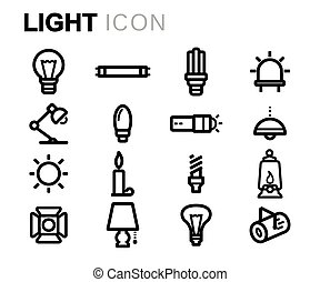 Vector black line light icons set