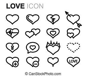 Vector black line love icons set